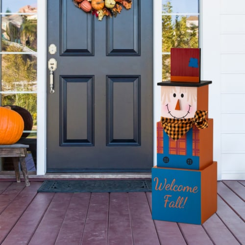 Glitzhome Jack-O-Lantern and Scarecrow Double Sided Wooden Porch Decor Perspective: top