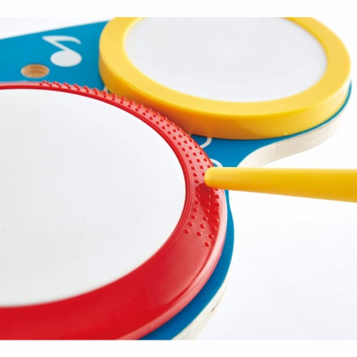 Hape Drum and Cymbal Instrument Play Set w/ 2 Drum Sticks for Kids Ages 3 and Up Perspective: top