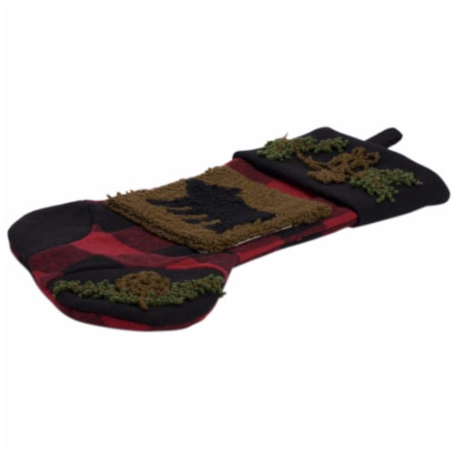 Glitzhome Bear Plaid Stocking Perspective: top