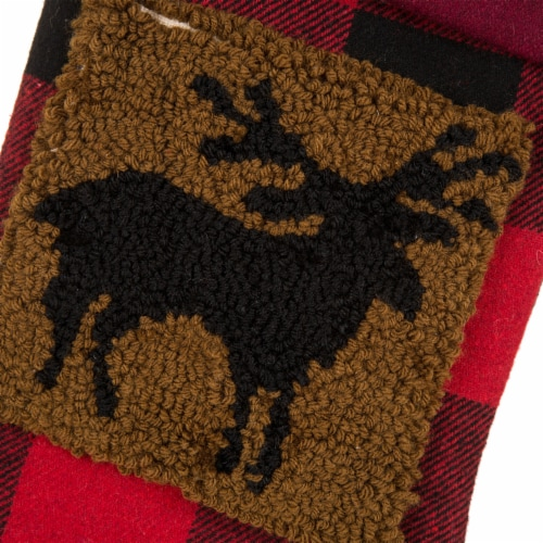 Glitzhome Reindeer Plaid Christmas Stocking Perspective: top