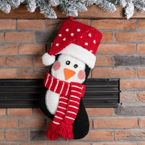 Glitzhome Penguin Hooked Christmas Stocking Perspective: top