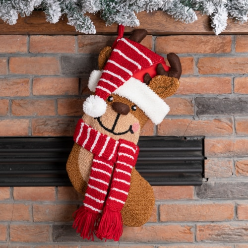 Glitzhome Reindeer Hooked Christmas Stocking Perspective: top