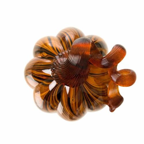Glitzhome Handmade Striped Glass Pumpkin Perspective: top