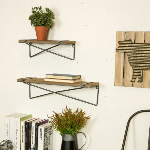 Glitzhome Rustic Farmhouse Metal/Wooden Wall Shelves Perspective: top