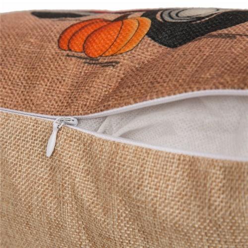 Glitzhome Faux Burlap Happy Harvest Truck Pumpkins Pillow Perspective: top