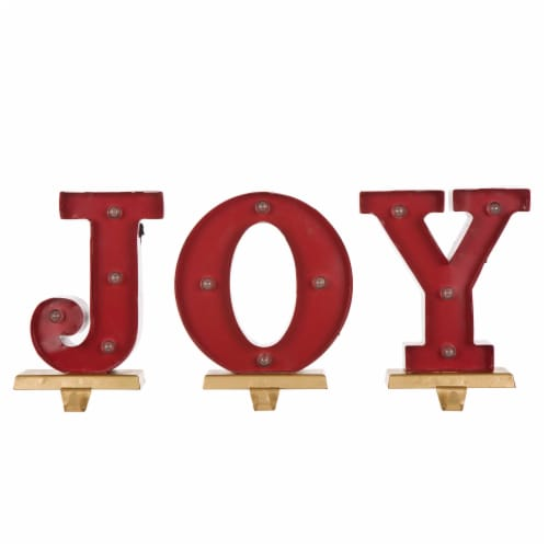 Glitzhome JOY Christmas Stocking Holder Set Perspective: top