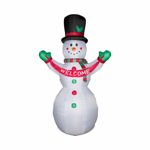 Glitzhome Lighted Inflatable Snowman Welcome Christmas Decor Perspective: top