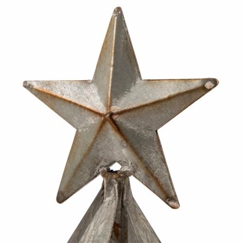 Glitzhome Galvanized Metal Christmas Tree Decor - Silver Perspective: top
