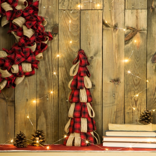 Glitzhome Plaid Fabric/Burlap Christmas Table Tree Decoration Perspective: top
