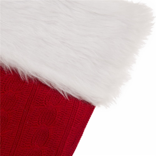 Glitzhome Plush Stocking with Faux Fur Cuff - Red/White Perspective: top