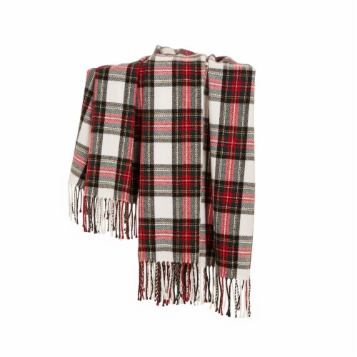 Glitzhome Acrylic Plaid Woven Tassel Throw Blanket - Red/White Perspective: top