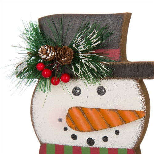 Glitzhome Snowman Head Christmas Stocking Holder Perspective: top