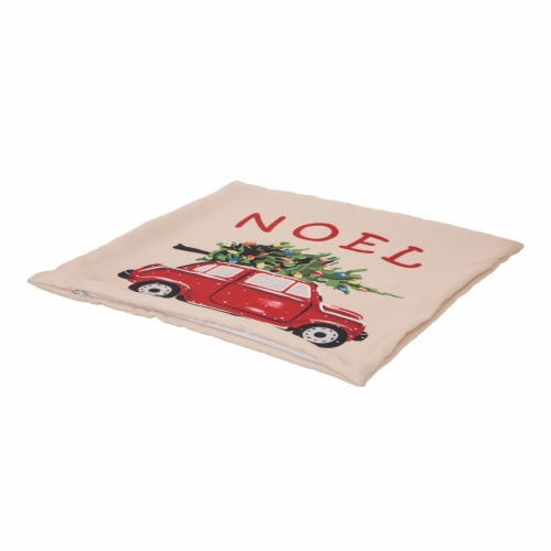 Glitzhome Polyester Truck Square Throw Pillow Cover - Red Perspective: top