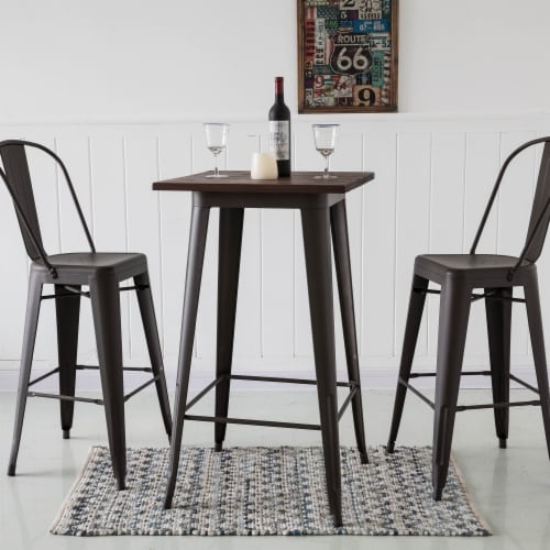 Glitzhome Rustic Steel Bar Table with Elm Wood Top - Coffee Perspective: top