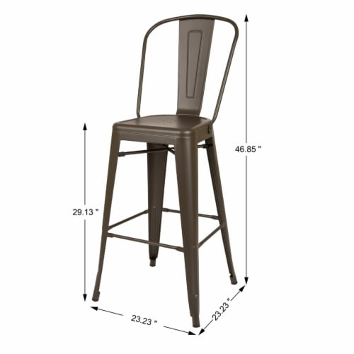 Glitzhome Rustic Steel Backrest Bar Stools with High Back - Set of 2 - Coffee Perspective: top