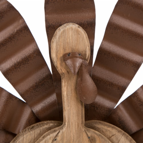 Glitzhome Wooden/Metal Turkey Table Decoration Perspective: top