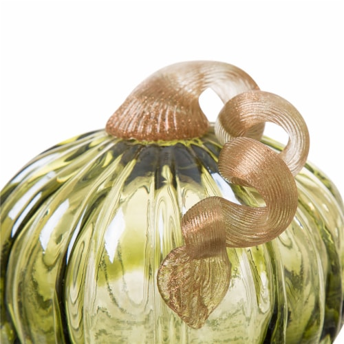 Glitzhome Glass Pumpkin Decor - Green Perspective: top