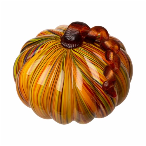 Glitzhome Glass Short Pumpkin - Striped Perspective: top