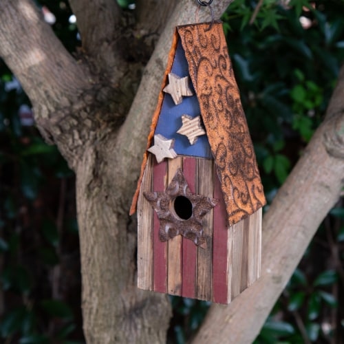 Glitzhome Wood and Metal Rustic Bird House Perspective: top