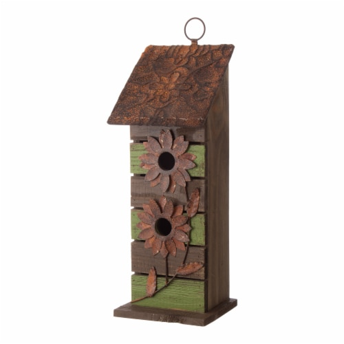 Glitzhome Hanging Two-Tiered Distressed Wooden Birdhouse Perspective: top