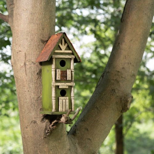Glitzhome Hanging Two-Tiered Distressed Solid Wood Birdhouse Perspective: top