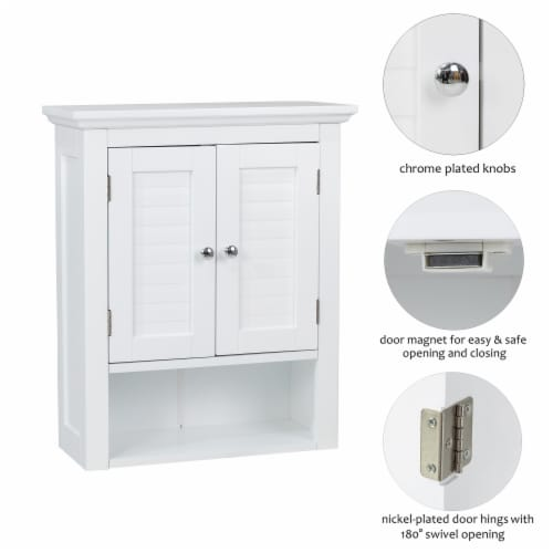 Glitzhome Wooden Wall Cabinet with Double Doors - White Perspective: top
