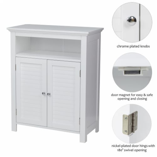 Glitzhome Shelved Floor Cabinet with Double Shutter-Door - White Perspective: top