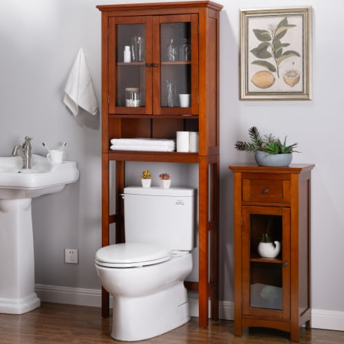 Glitzhome Drop Door Bathroom Spacesaver - Mahogany Brown Perspective: top