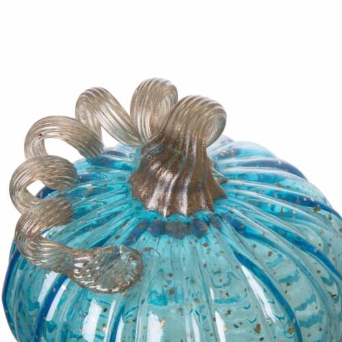 Glitzhome Handmade Glass Pumpkin - Small - Blue Perspective: top