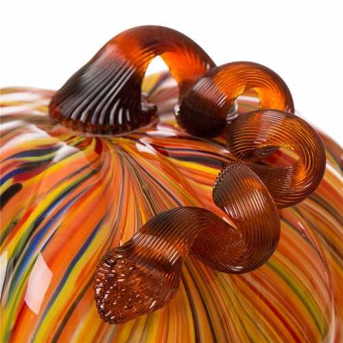 Glitzhome Glass Pumpkin - Large - Multi Striped Perspective: top