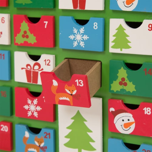 Glitzhome Wooden House Advent Calendar with Drawers Perspective: top