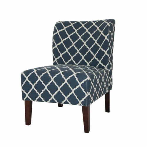Glitzhome Lattice Upholstered Accent Chair with Sturdy Hardwood Frame - Indigo Perspective: top