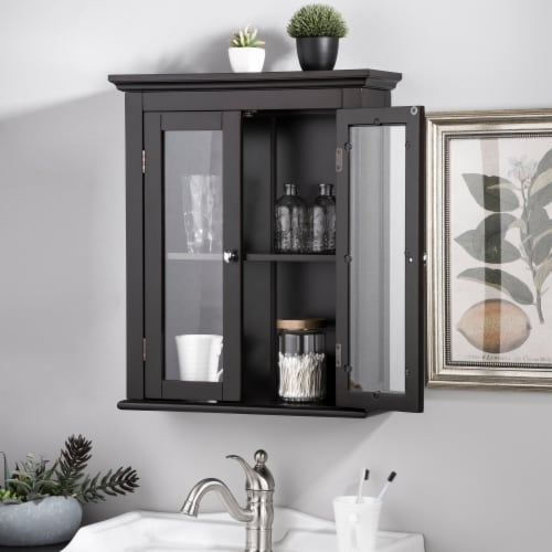 Glitzhome Wooden Wall Cabinet with Double Doors - Espresso Perspective: top