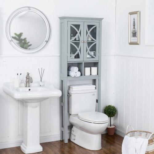 Glitzhome Wooden Drop Door Bathroom Cabinet - Gray Perspective: top
