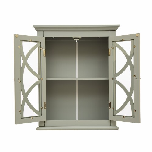 Glitzhome Wooden Wall Cabinet with Double Doors - Gray Perspective: top