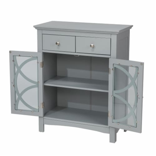 Glitzhome Floor Cabinet with Double Doors and Drawer - Gray Perspective: top