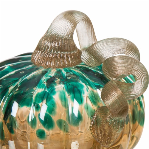 Glitzhome Small Glass Pumpkin for Fall - Blue/Gold Perspective: top