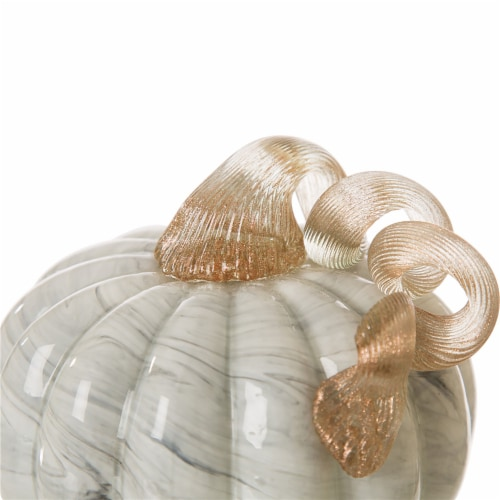 Glitzhome Marble Small Short Glass Pumpkin - Gray Perspective: top