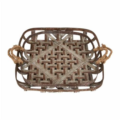 Glitzhome Galvanized Metal and Jute Rope Basket Pair Perspective: top