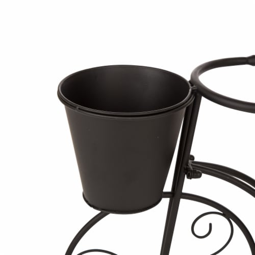 Glitzhome Metal Bicycle Shape Planter - Black Perspective: top