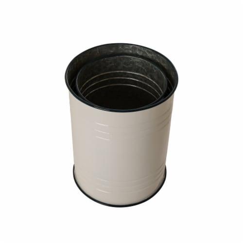 Glitzhome Farmhouse Round Metal Enamel Storage Stool - White Perspective: top