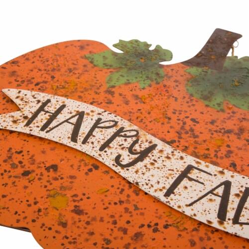 Glitzhome Metal Rusty Pumpkin Decor Perspective: top
