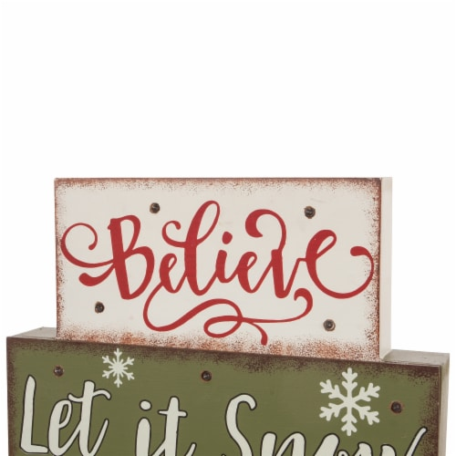 Glitzhome LED Lighted Wooden/Metal Block Word Sign - Red/Green Perspective: top