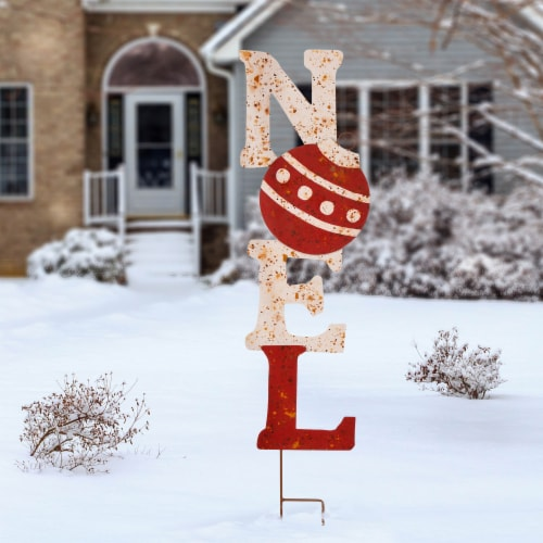 Glitzhome Christmas Rusty Metal Noel Yard Stake Perspective: top