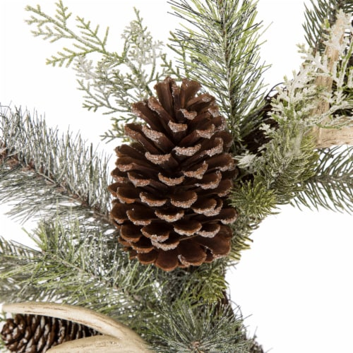 Glitzhome Flocked Pinecone & Antler Wreath - Green Perspective: top
