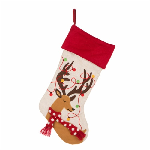 Glitzhome Embroidered Linen Reindeer Christmas Stocking Perspective: top
