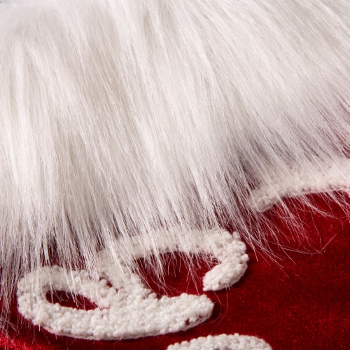 Glitzhome Good Dog Velvet Plush Cuff Christmas Stocking - Red/White Perspective: top