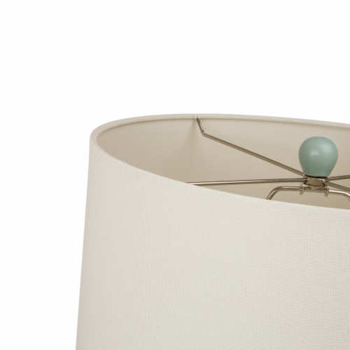 Glitzhome Matte Ceramic Table Lamp with Shade - Mint/White Perspective: top