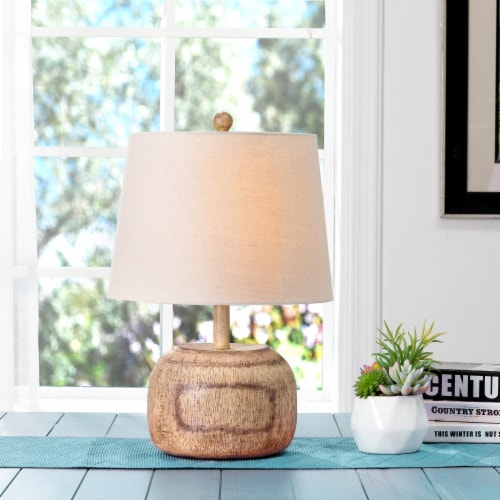 Glitzhome Rustic Farmhouse Polyresin Table Lamp with White Shade Perspective: top