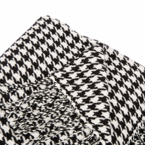 Glitzhome Acrylic Houndstooth Woven Tassel Throw - Black/White Perspective: top
